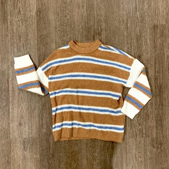 NWT AMERICAN EAGLE Knit Cotton Striped Sweater Scoop Neck Orange